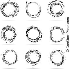 Set of hand drawn scribble isolated circles.