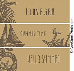 Set of hand drawn sea themed banners. Seagull, lighthouse, shell, boat. Vector illustration. Design template for greeting cards etc.