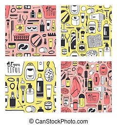 Set of Hand drawn seamless patterns with cosmetics. Vector...