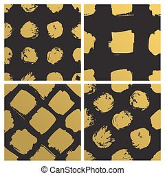 Set of Hand drawn seamless patterns with metallic paint forms. Gold Abstract brush background. Grunge vector illustration circles, squares