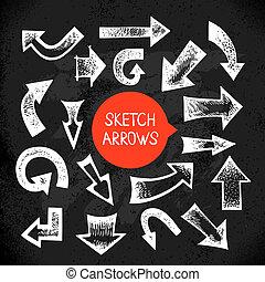 Set of hand drawn sketch doodle arrows. Vector illustration.