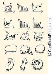 Set of hand drawn sketch of business graph, word bubble, ...