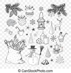 Set of hand-drawn sketchy christmas elements. Doodle sketch vector illustration. Candles, gift boxes. snowmen, pomanders.