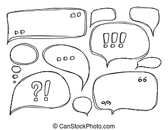 Set of Hand Drawn Sketchy Speech Bubbles Isolated on White