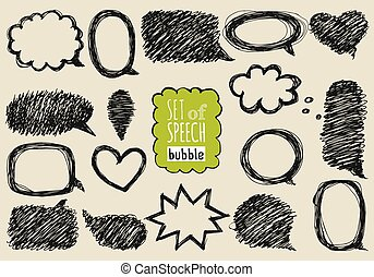 Set of hand drawn speech and thought bubbles.
