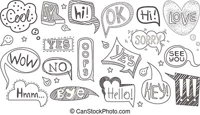 Set of hand drawn speech bubbles of various shapes. Sketches...