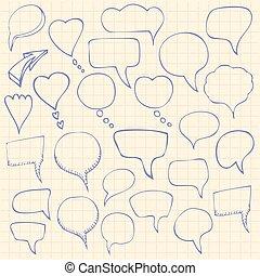 Set of hand-drawn speech bubbles. Vector illustration