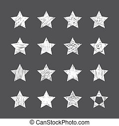 Set of hand drawn stars on black background
