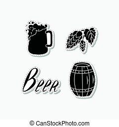 Set of hand drawn stickers with beer mug, hop branch, sign and barrel. Templates for design or brand identity