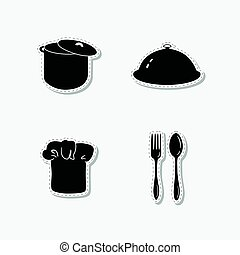 Set of hand drawn stickers with chef hat, stock pot, cloche, spoon and fork. Templates for design or brand identity