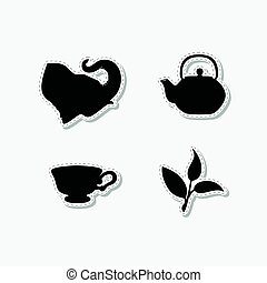 Set of hand drawn stickers with elephant, teapot, tea leaf and cup. Templates for design or brand identity.