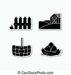 Set of hand drawn stickers with wooden fence, straw basket, eggs in nest and farm field with house. Templates for design or brand identity