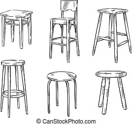 Set of hand drawn stools, vector sketch