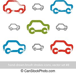 Set of hand-drawn stroke colorful car icons, collection of illustrated brush drawing passenger cars, hand-painted automobiles isolated on white background, transportation icons.