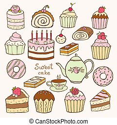 Set of hand drawn sweet cupcakes