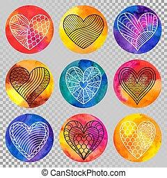 Set of Hand-drawn Symbols Contour Doodle Hearts on Watercolor Circles.
