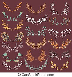 Set of hand drawn symmetrical floral graphic design elements in retro style.