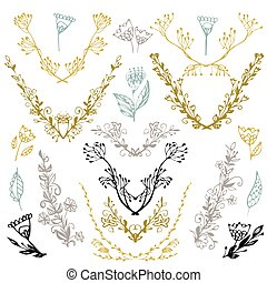 Set of hand drawn symmetrical floral graphic design elements in retro style. Illustration vector. Hand drawn floral set. Pastel backdrop.
