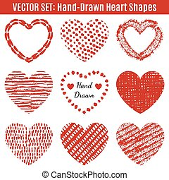 Set of hand-drawn textures heart shapes.  Vector illustration fo