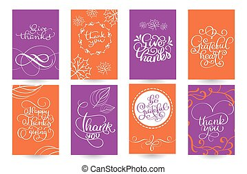 Set Of Hand Drawn Thanksgiving Day Texts. Celebration Quotes Happy  Thanksgiving, Hello Fale,