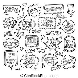 Set of hand drawn think and talk speech balloons with ...