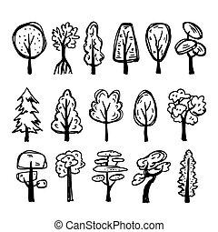 Set of hand-drawn trees