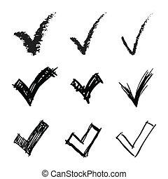 Set of hand drawn V signs, illustration