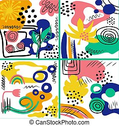 Set of hand drawn various shapes and doodle objects. Abstract contemporary modern trendy vector illustration.