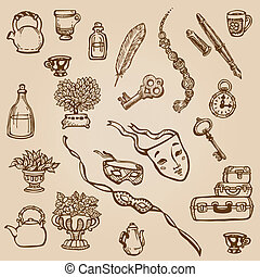 Set of Hand Drawn Various Vintage Elements - for design and scrapbook in vector