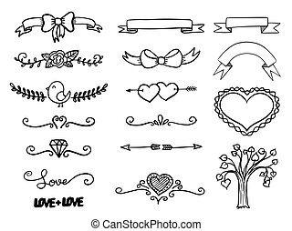 Set of hand drawn vector banner heart curls
