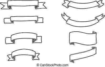 Set of hand-drawn vector banners