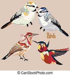 Set of hand drawn vector birds.eps