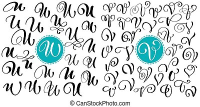 Set Of Hand Drawn Vector Calligraphy Letter U V Script Font Isolated Letters