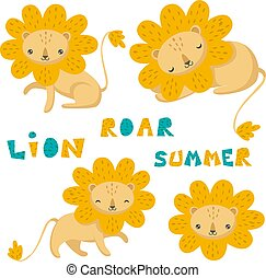 Set of hand drawn vector. Cute lion and lettering.