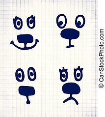 Set of hand drawn vector emoticons or smileys
