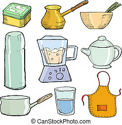 kitchen objects - set of hand drawn, vector illustration of ...