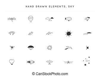 Set of hand drawn vector logo elements. Sky sports theme.