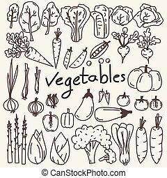 Set Of Hand Drawn Vegetables Doodles.