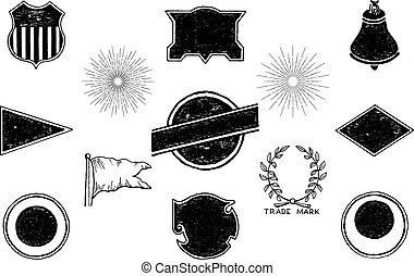 Set of hand-drawn vintage badges and labels.