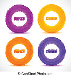 Set of Hand drawn watercolor circles, vector design elements