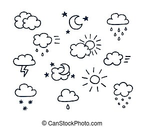 Set of hand-drawn weather icons - Set of vector hand-drawn...