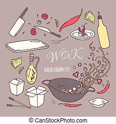 Set of hand drawn wok restaurant elements for your design. Doodle asian food. Vector illustration