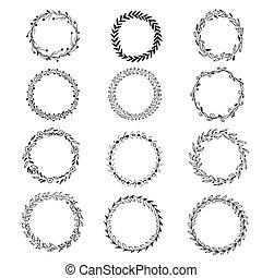 Set of hand drawn wreaths, vector illustration