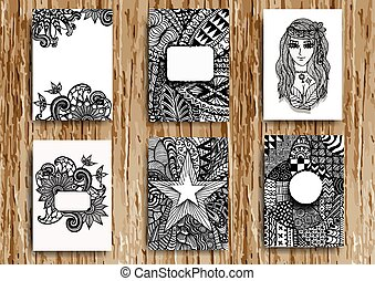 Set of hand drawn zentangle on A4 t
