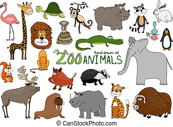 Set of hand-drawn zoo animals on white with a flamingo lion...