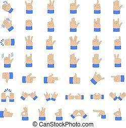 Set of hand emoticon