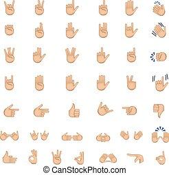 Set of hand emoticon vector.