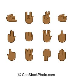 set of hand gestures icons. Sign language.