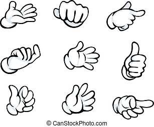 Set of hand gestures in cartoon style for comics design