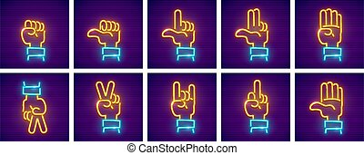 Set of hand gestures neon icons